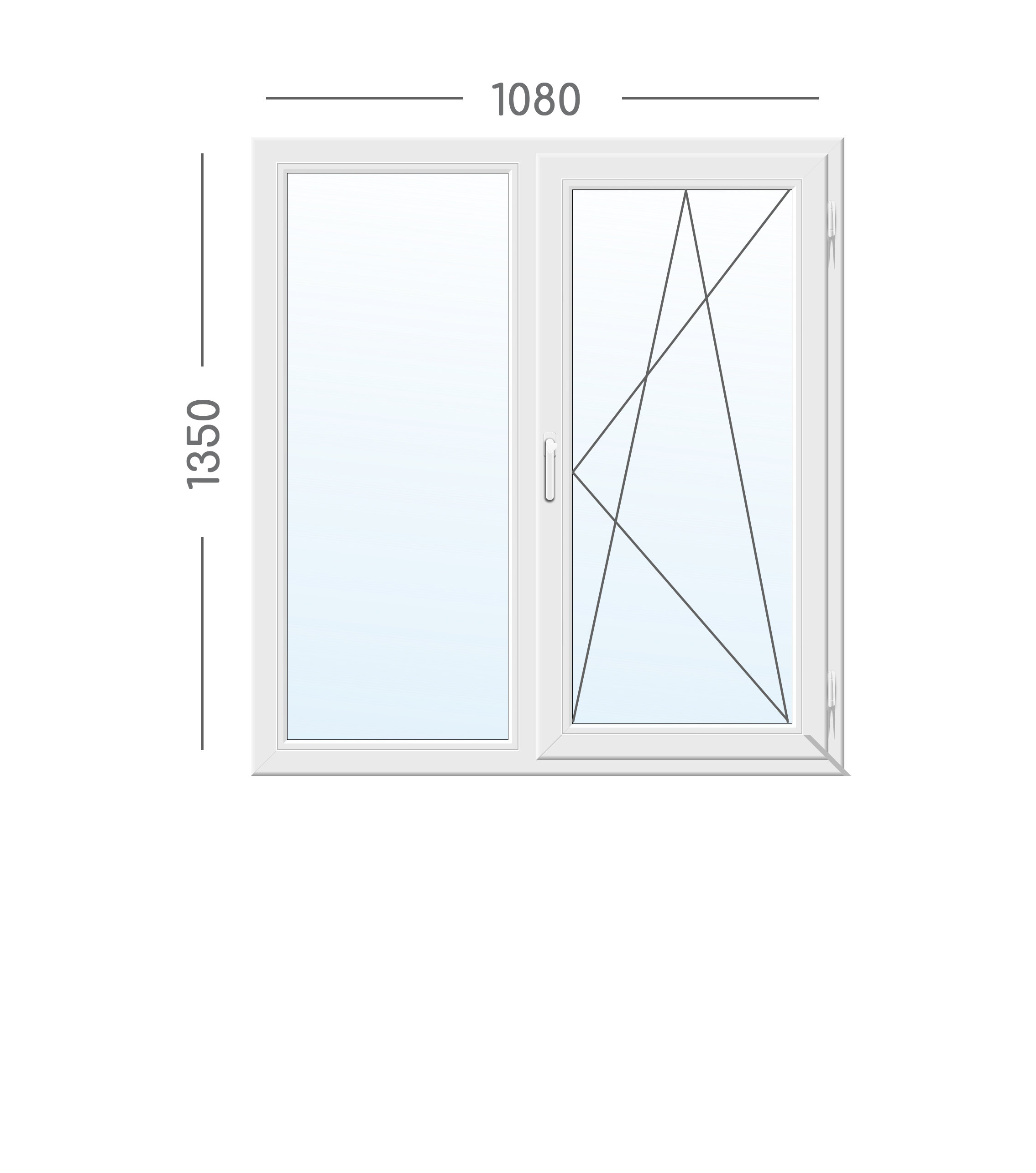 Двустворчатое окно WDS Galaxy с фурнитурой VORNE (Турция)