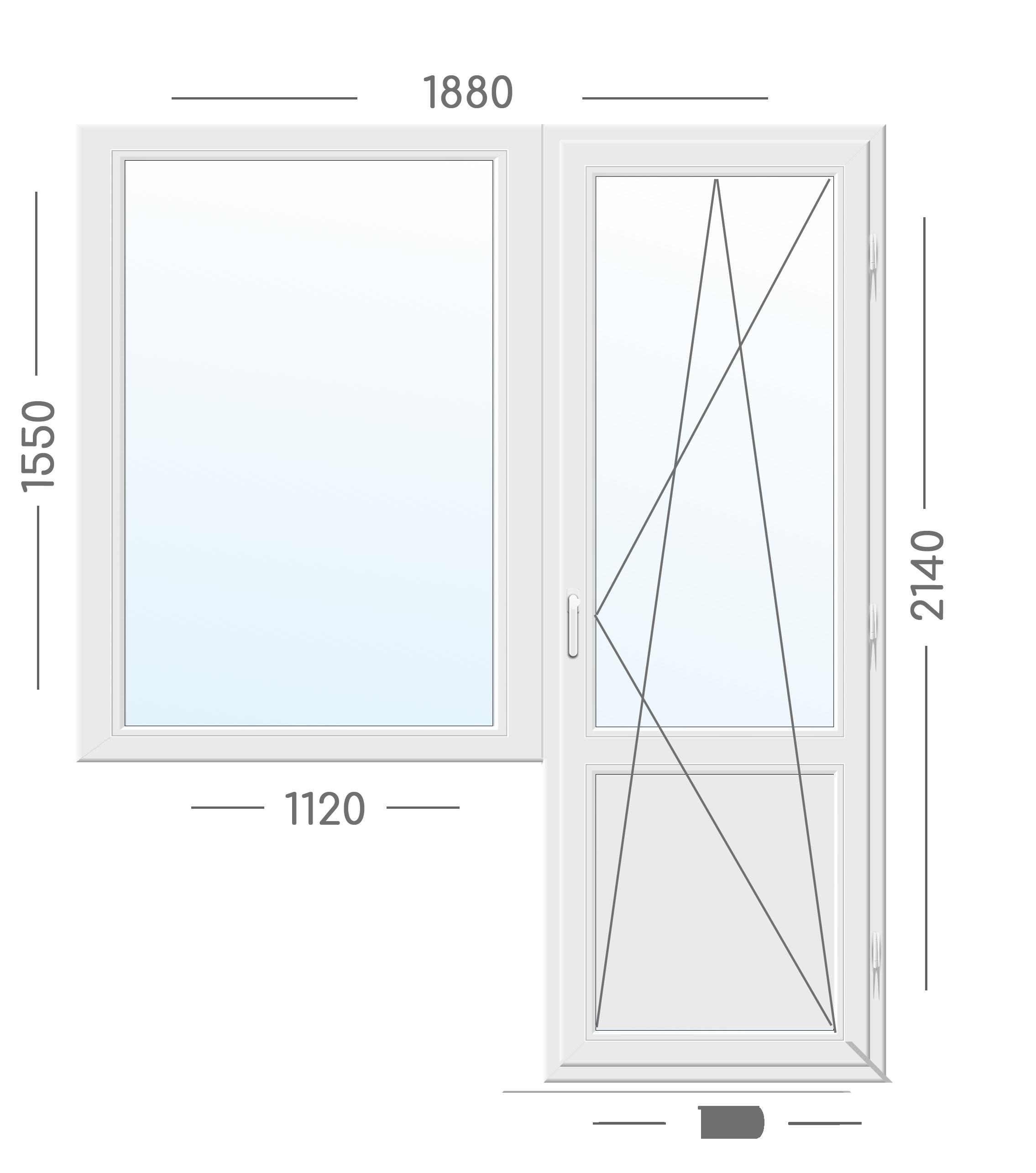 Вікно Блок Rehau 1880х2140